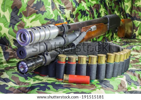 Shotgun pump action. - stock photo