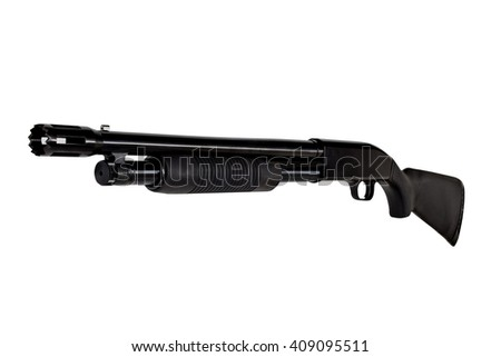 Shotgun Rifle Police Combat Defense Pump Action made in America isolated on white - stock photo