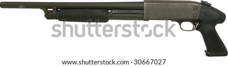 shotgun rifle with pistol grip isolated on white - stock photo
