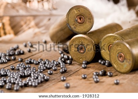 Shotgun shells and shot on wood background - stock photo
