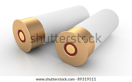 Shotgun Shells Cartridges 12 caliber on White Background - stock photo