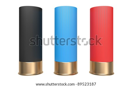 Shotgun Shells Cartridges 12 caliber on White Background