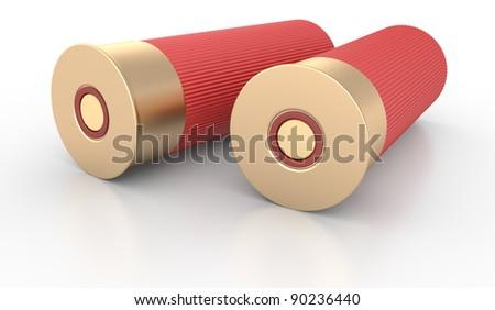 Shotgun Shells Cartridges 12 caliber on White Background - stock photo