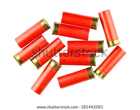 Shotgun shells isolated on white background - stock photo