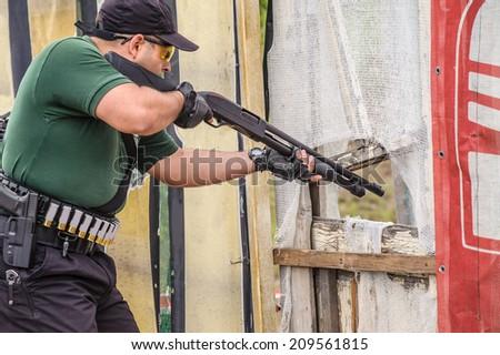 Shotgun Shooting Training. Outdoor Shooting Range - stock photo