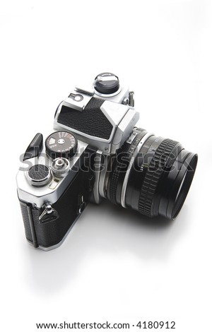 Shots of an old 35mm camera. - stock photo