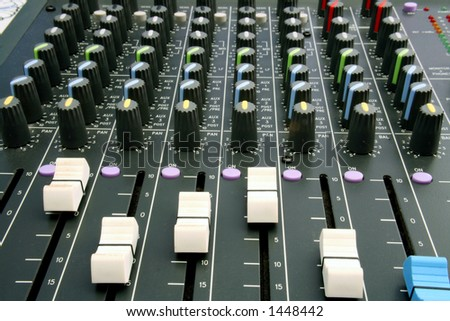 Shots of Sound Mixing console - stock photo