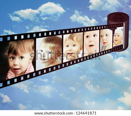 Shots with different emotions of little child - stock photo