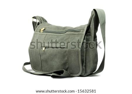 Shoulder bag. Isolated on white - stock photo