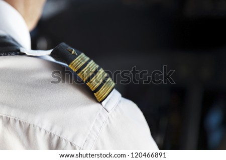 Shoulder Golden Pilot Badge Detail - stock photo