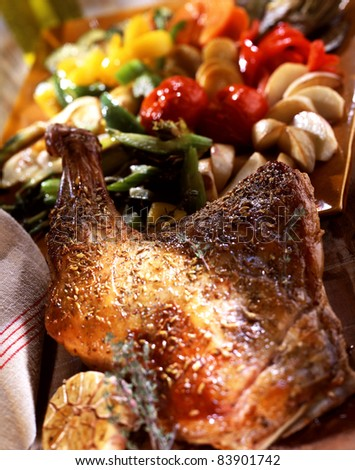 Shoulder of lamb coated with spices - stock photo