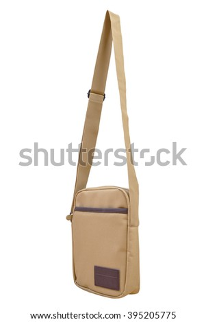 Shoulder or messenger bag with strap isolated on white background