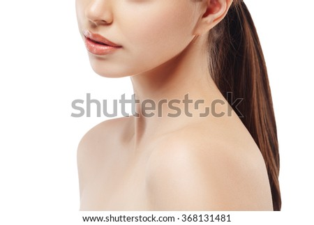 Shoulders neck lips Beautiful woman portrait face studio isolated on white