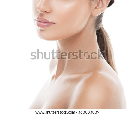 Shoulders neck lips Woman beauty portrait. isolated on white. close up female face. - stock photo