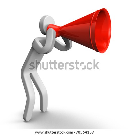 Shout Person Has Megaphone - stock photo