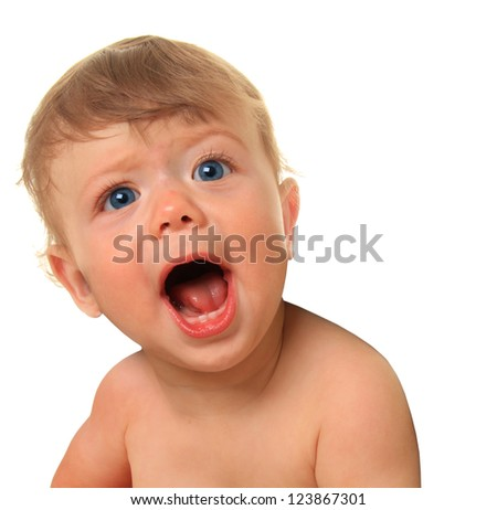 Shouting baby boy, ten months old. - stock photo
