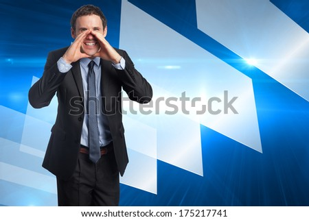 Shouting businessman against abstract technology background