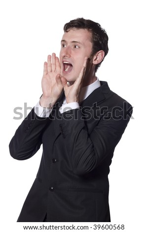 shouting businessman in a black suit