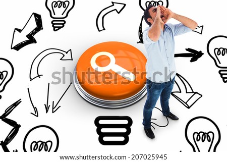 Shouting casual man standing against magnifying glass - stock photo
