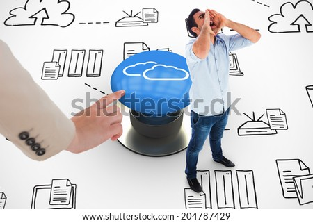 Shouting casual man standing against white graphic background - stock photo