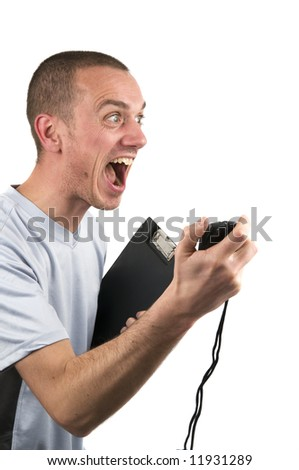 Shouting coach encouraging his pupil, he's gonna make it! - stock photo