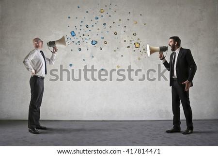Shouting employees - stock photo