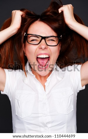 shouting girl have a problems - stock photo