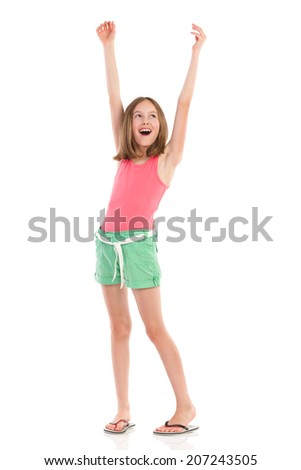Shouting girl with arms raised looking away. Full length studio shot isolated on white. - stock photo
