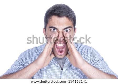 Shouting male isolated on white background - stock photo