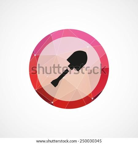 shovel crane circle pink triangle background icon, isolated on white background  - stock photo