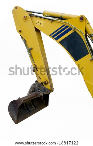 shovel from backhoe isolated - stock photo