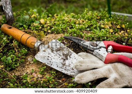 shovel, gardening, working in the ground, cultivation, tools - stock photo