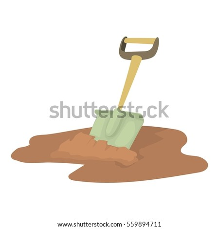 Shovel icon. Cartoon illustration of shovel  icon for web design