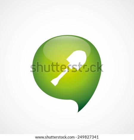 shovel icon green think bubble symbol logo, isolated on white background  - stock photo