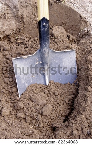 Shovel in the ground - stock photo