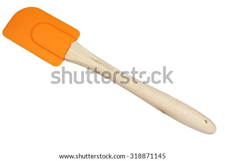 Shovel kitchen on the wooden handle on a white background