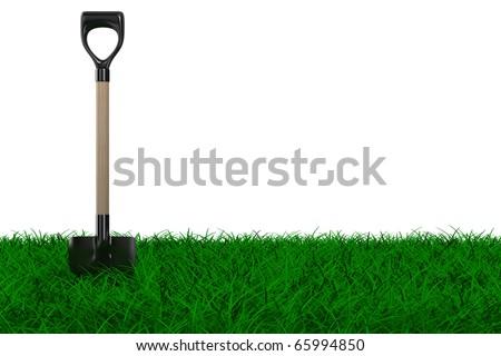 Shovel on grass. garden tool. Isolated 3D image - stock photo