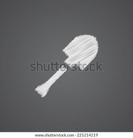 shovel sketch logo doodle icon isolated on dark background  - stock photo