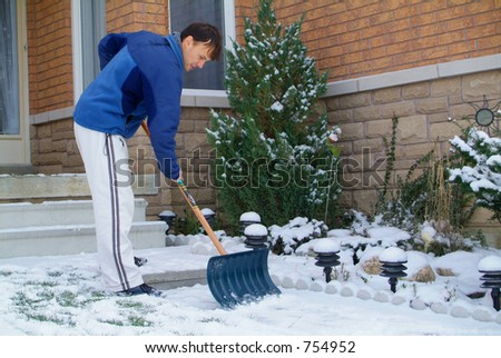 Shoveling Snow. - stock photo