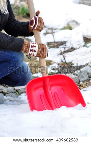 Shoveling the snow - stock photo