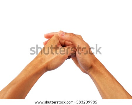 Show both hands in a gesture of reverence as same Chinese.
