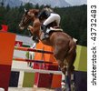 Show jumping (all trademarks removed -> lots of copy space) - stock photo