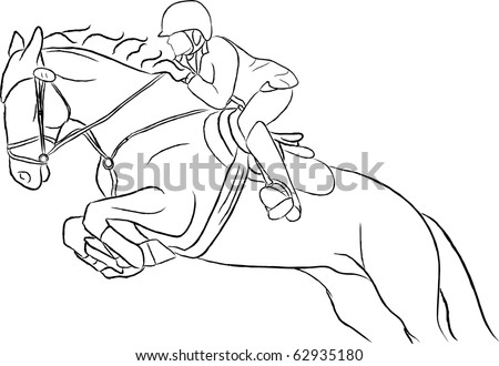 Show Jumping Horse Illustration (vector version in my gallery) - stock photo