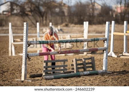 show jumping preparing - stock photo
