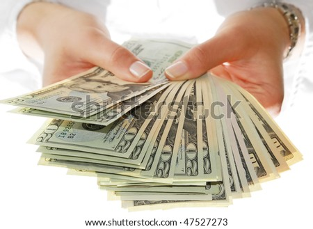 Show me money - stock photo