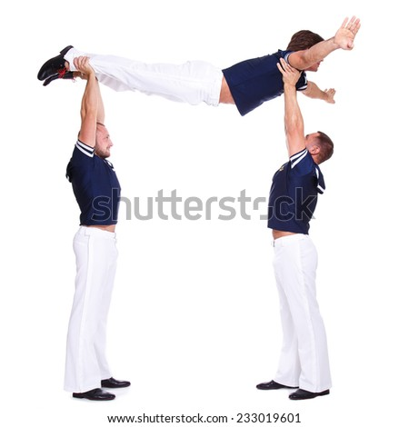 Show, striptease. Handsome guys in sailor dress - stock photo