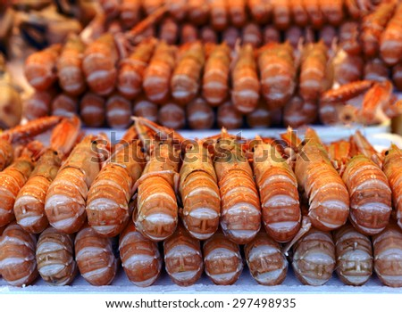 Show-window of seafood in the sea market - stock photo