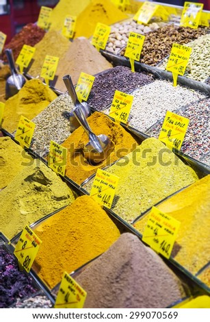 Show-window with various spices, the Grand Bazaar, Istanbul - stock photo