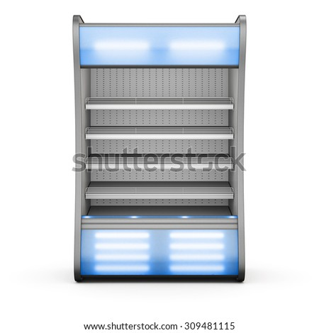 Showcase for chilled products with blue backlight on a white background. Front view. 3d.