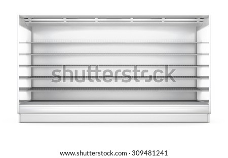 Showcase for the products in the supermarket isolated on white background. 3d. - stock photo